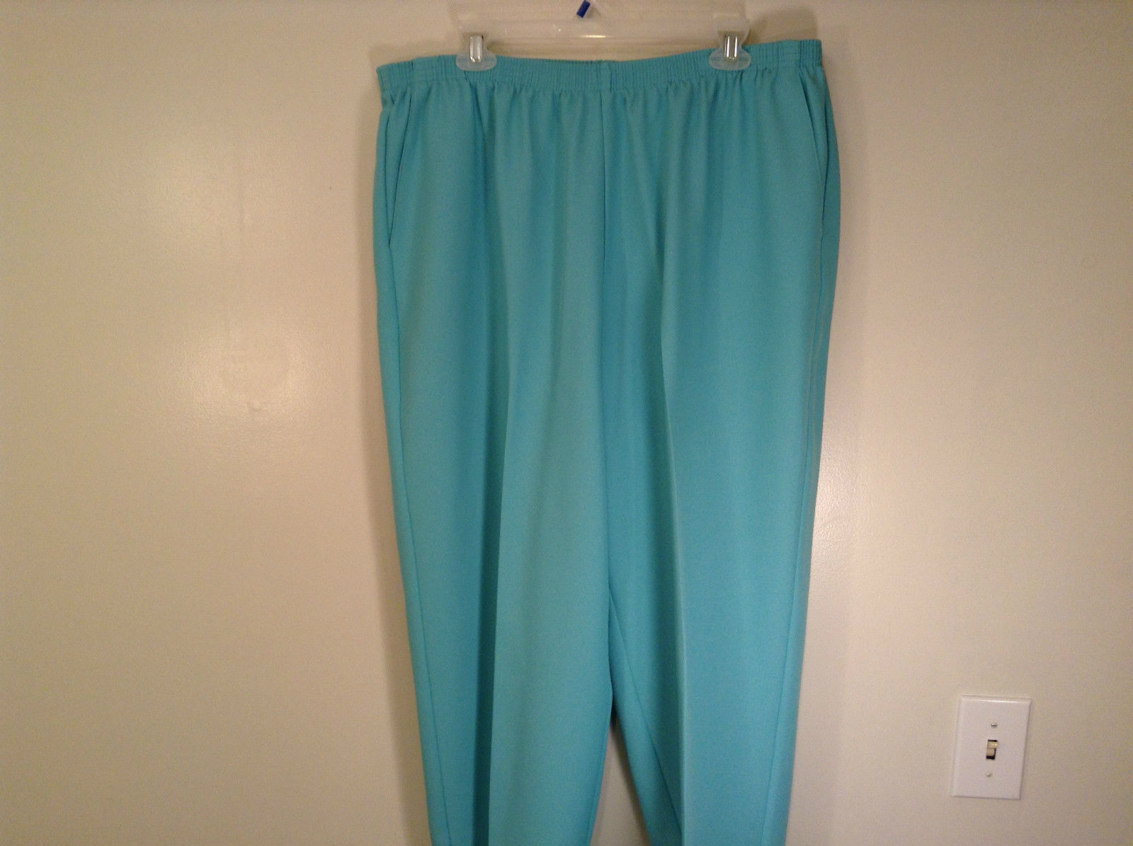 Size 20W Stretchy Waist Alfred Dunner Blue Pants Side Pockets Made in USA