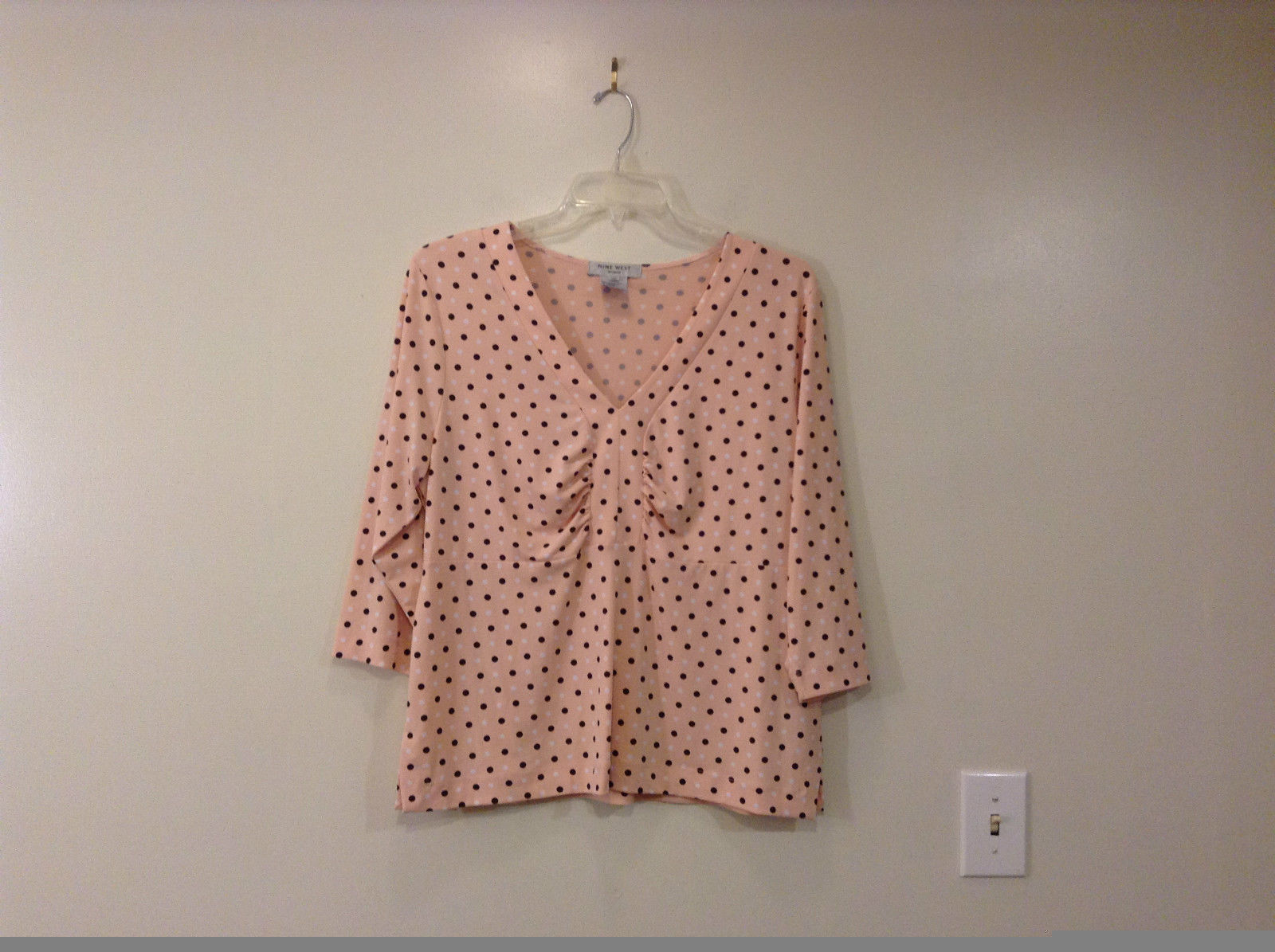 Size 1X Light  Pink with White and Brown Polka Dots Nine West V Neck with Pleats