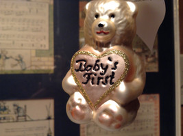 Off White Teddy Bear Babys First Hand Blown Glass Ornament German Christmas image 2