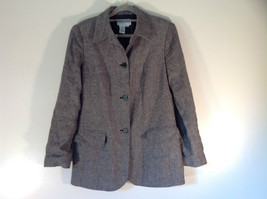 Size 4 J G Hook Black and White Patterned Wool Blend 3 Button Closure Blazer