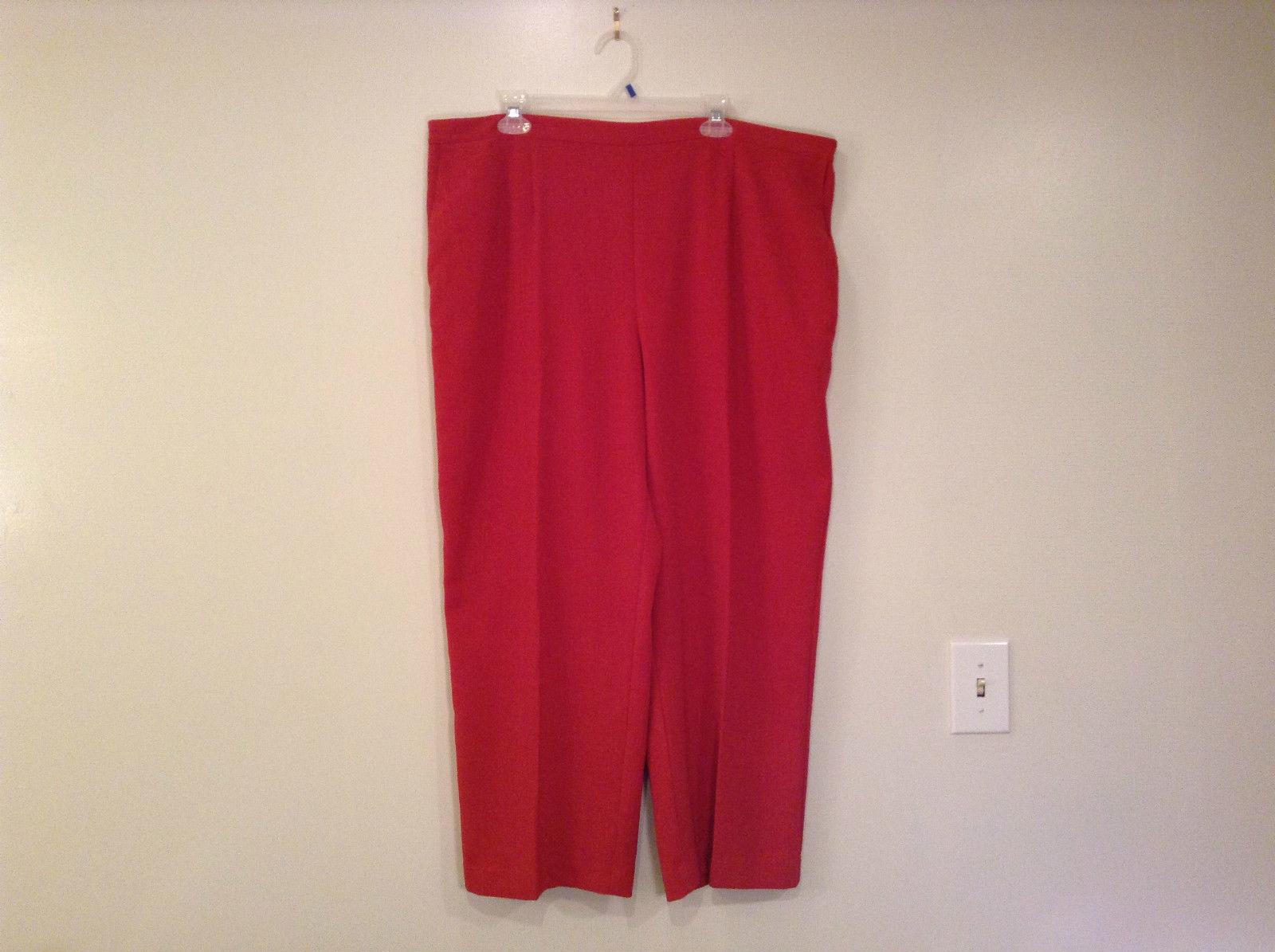 Size 22W Alfred Dunner Orange Red Unlined Dress Pants Side Pockets Elastic Waist