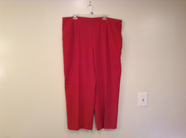 Size 22W Alfred Dunner Orange Red Unlined Dress Pants Side Pockets Elastic Waist