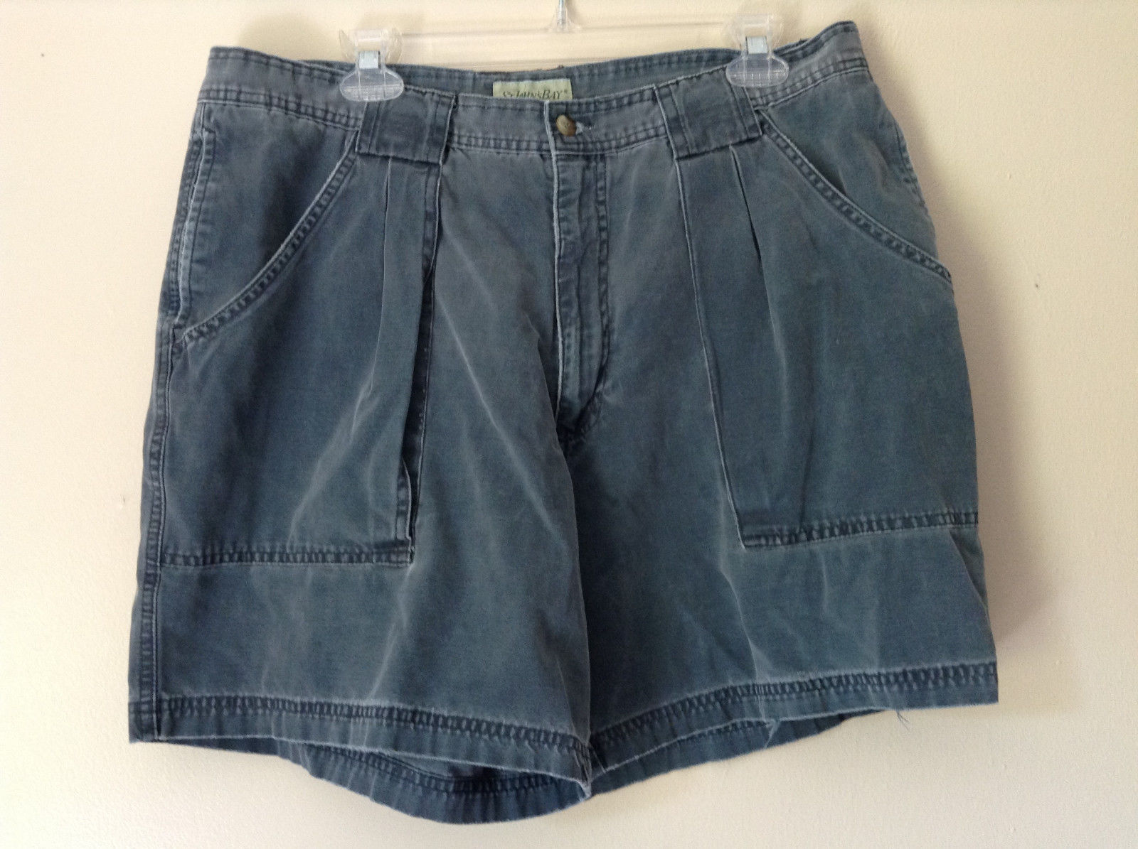 Size 38 Casual Blue Shorts by St. Johns Bay 100 Percent Cotton Front Back Pocket