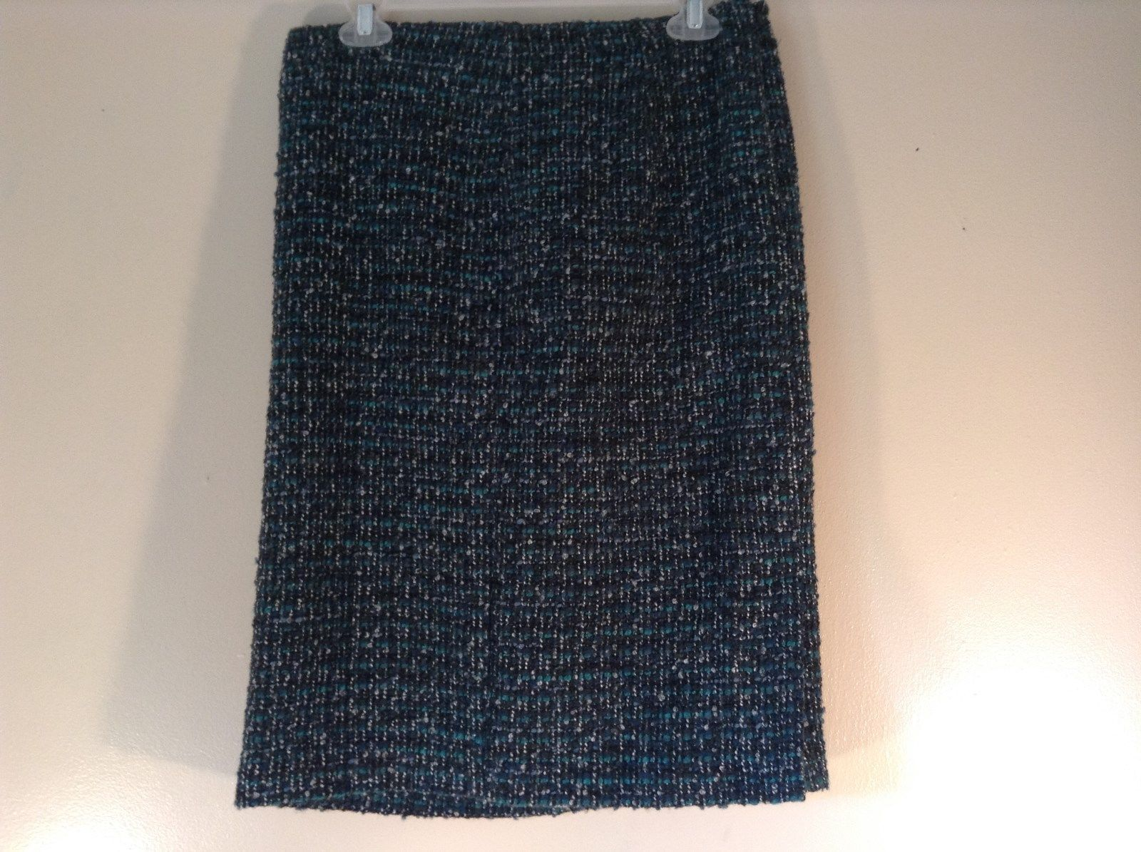 Size 4 Talbots Green Blue Fuzzy Thick Warm Material Skirt Wool Blend