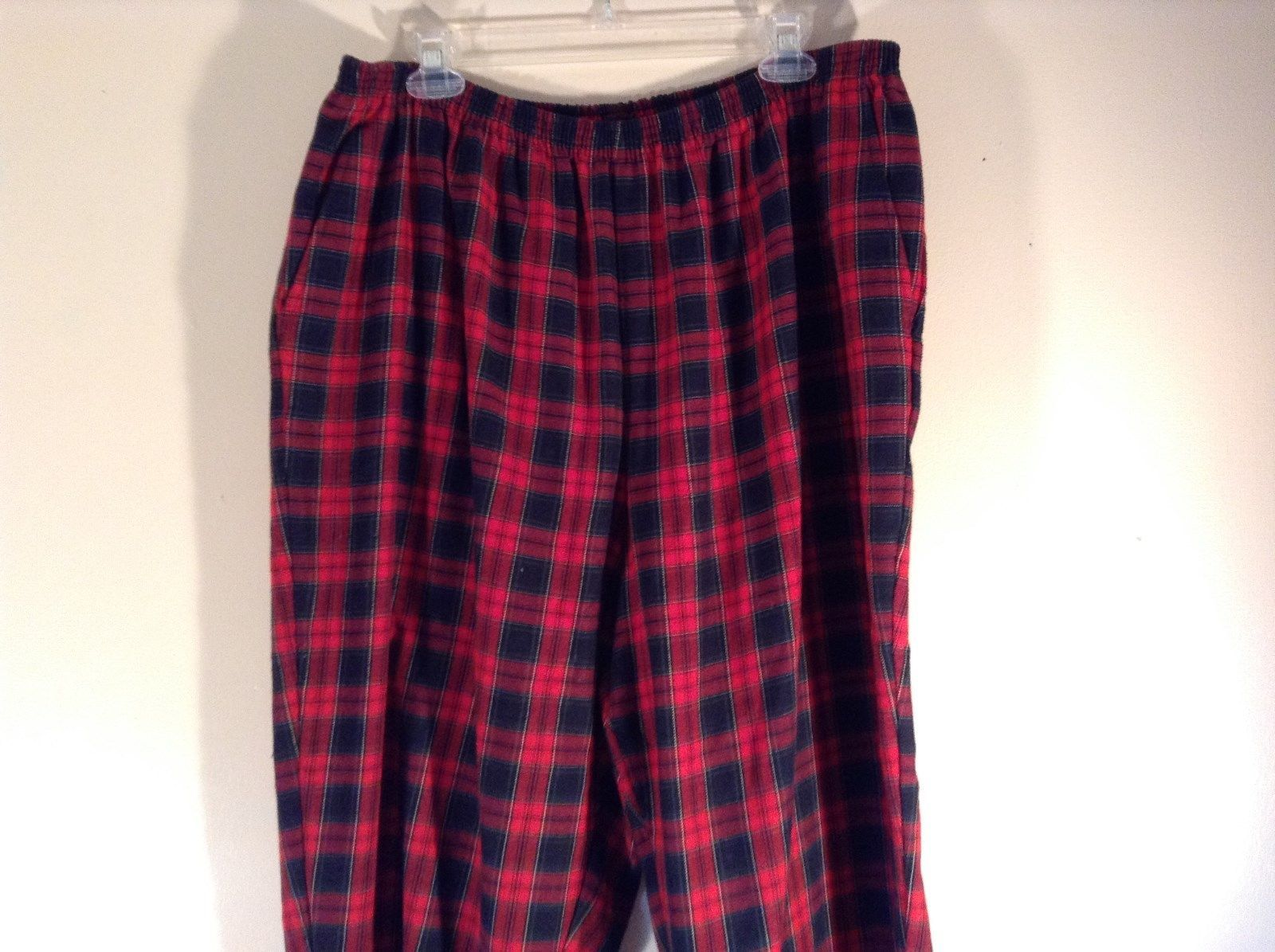 Size 22W Red Blue Plaid Alfred Dunner Stretchy Waist Lounge Pants Pajama Bottom