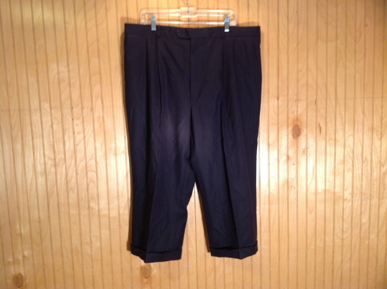Size 40 Black Pleated Dress Pants Tags Removed Measurements Below