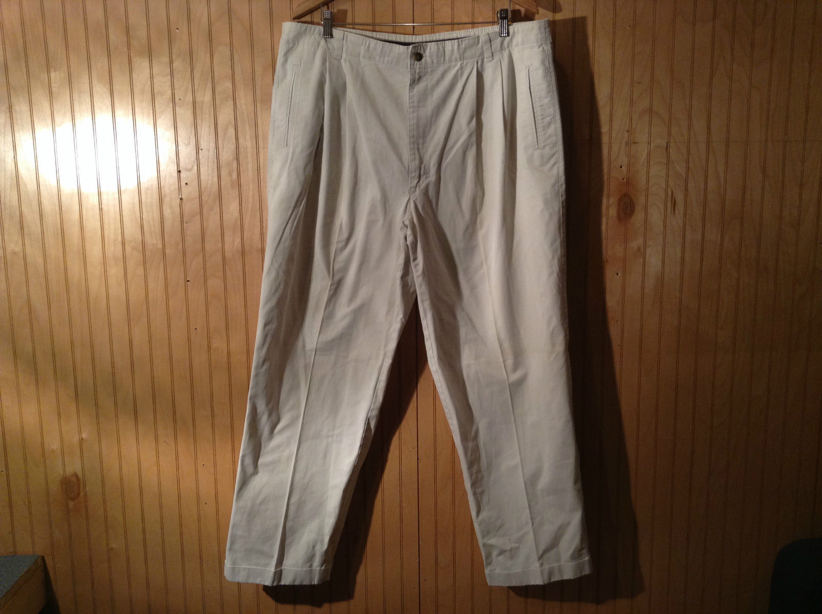 Size 40 by 32 Dockers White Pants Loose Fit Made in USA Button Zipper Closure