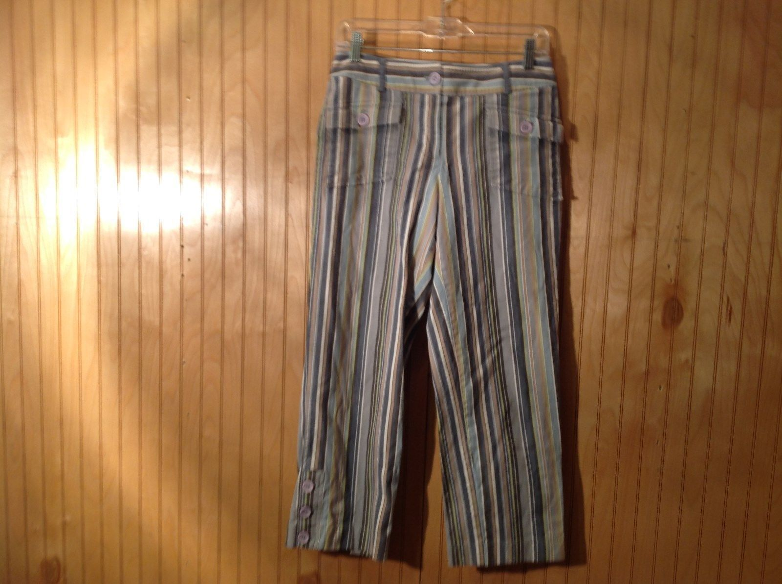 Size 6 Tan White Blue Capri Pants Anne Taylor Loft Stretch Two Front Pockets