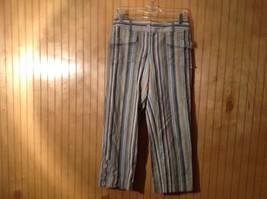 Size 6 Tan White Blue Capri Pants Anne Taylor Loft Stretch Two Front Pockets