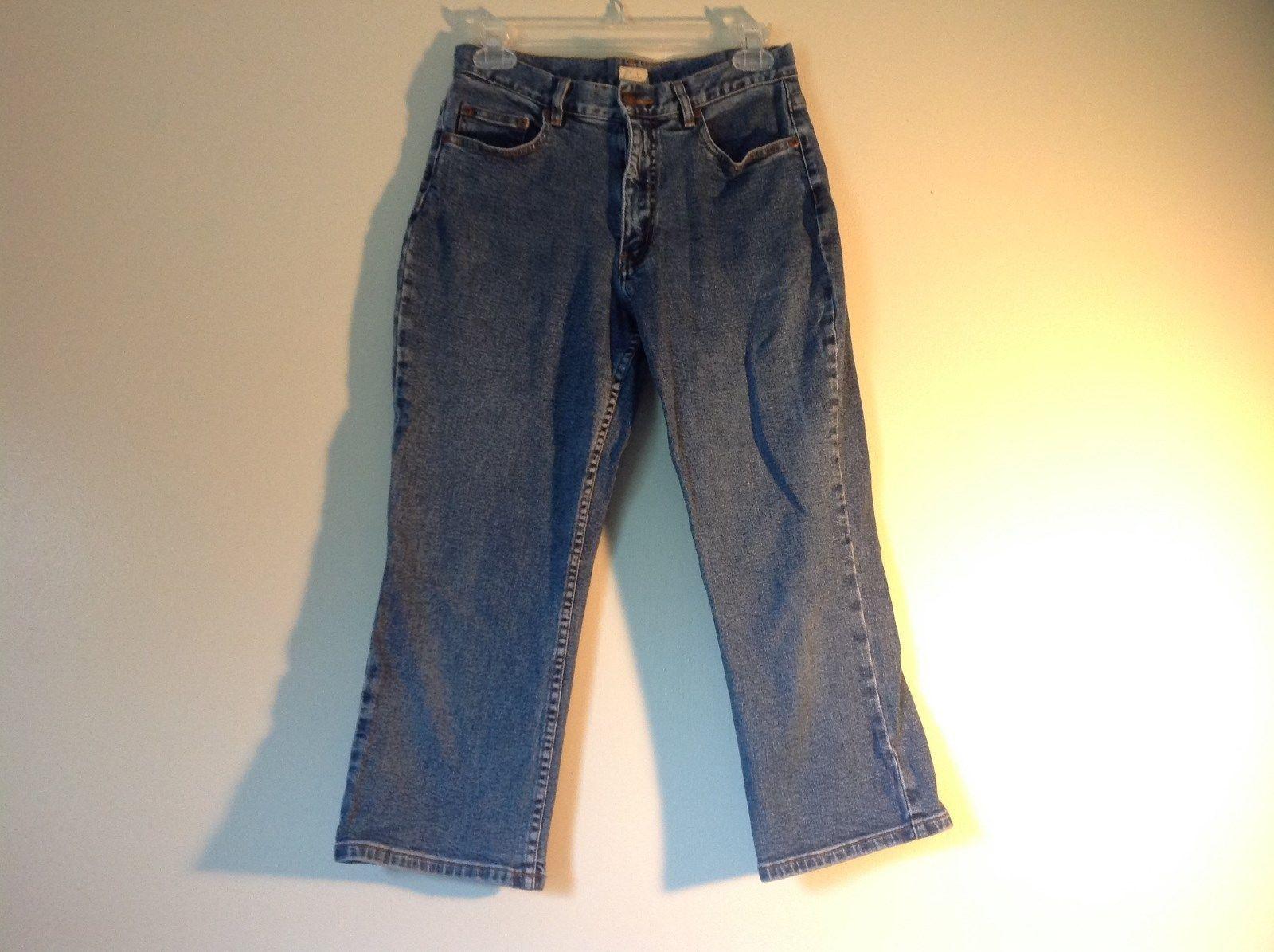 Size 8 Petite Denim Jeans Blue Caslon Front Back Pockets Zipper Button Closure