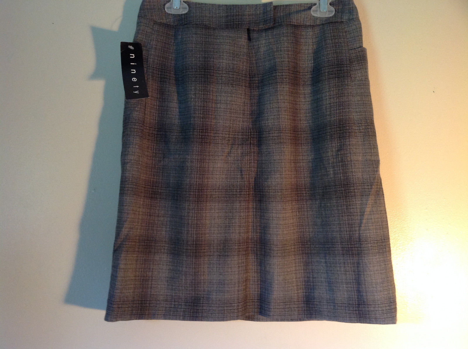 Size 8 Black and Gray Plaid Lined Skirt by Ninety Button Zipper Clasp Closure