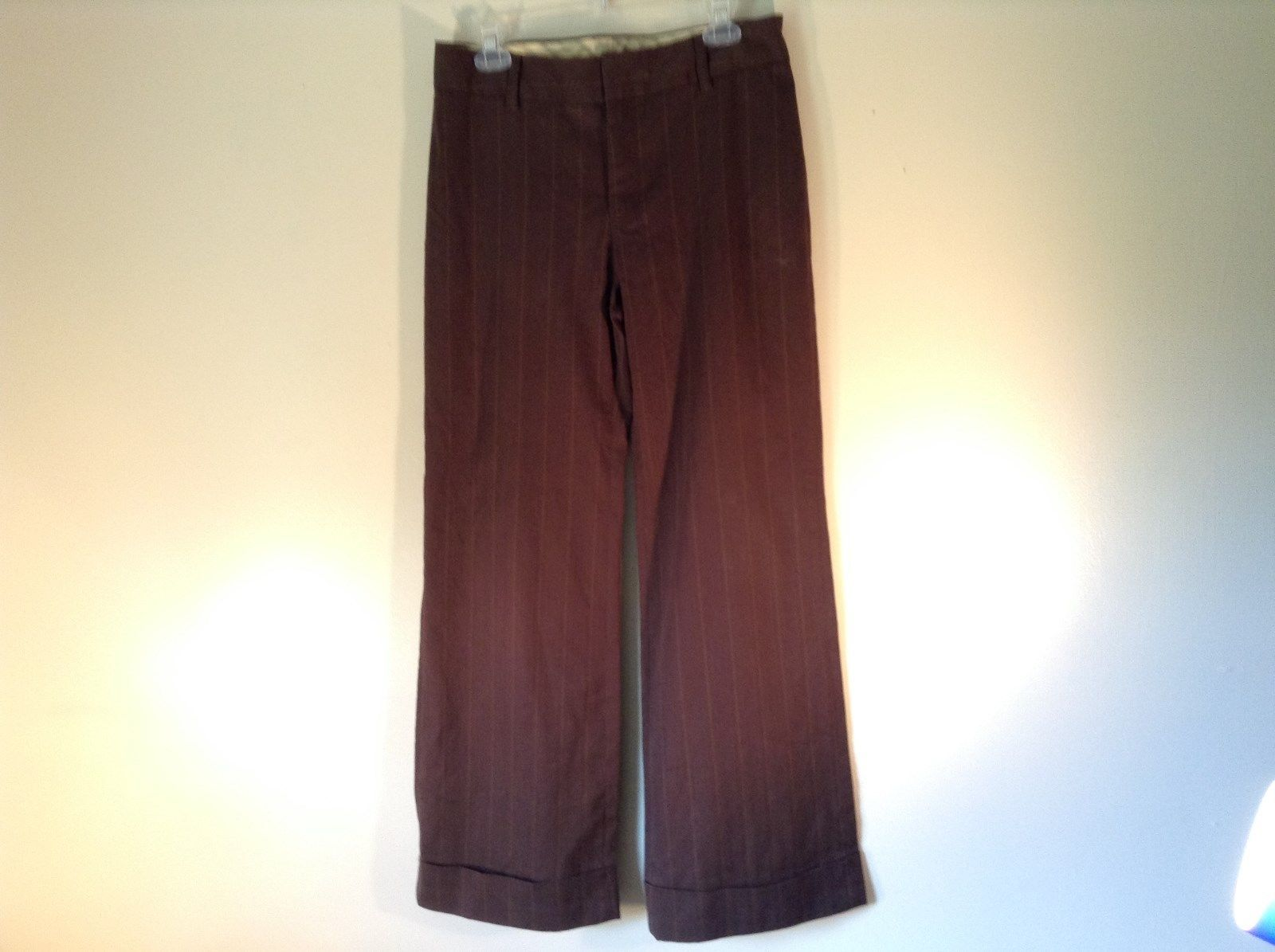 Size 8 Brown Casual Striped Pants GAP Cuffed Bottoms 2 Back Pockets Belt Loops