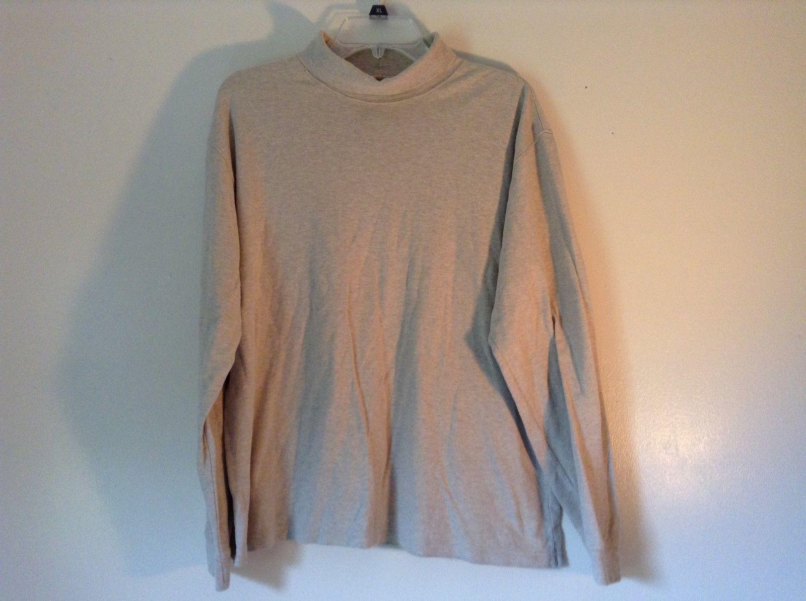 Size Large Tan Beige L L Bean Long Sleeve Turtleneck Shirt 100 Percent Cotton