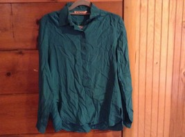 Size 38 Teal Colored Button Down Long Sleeve Blouse Scali Made in France