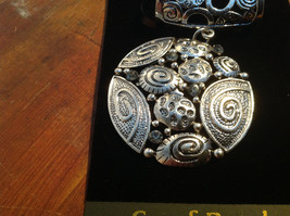 Pretty Round Silver Tone Scar Pendant with Gray Crystals and Silver Beads image 2
