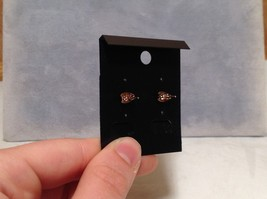 Pretty Round Pink Stone 18K Rose Gold Stud Earrings image 5