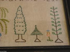 Primitive Embroidered Framed Trees w glass Alphabet Numbers sampler stitchery image 4
