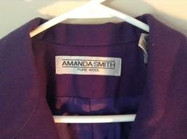 Pure Wool Purple Blazer Jacket by Amanda Smith Padded Shoulders 4 Button Closure image 3