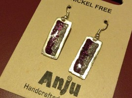 Purple & Gray Abstract Bar Glossy Finish Pewter & Enamel Earrings Handmade image 2