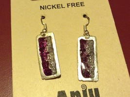 Purple & Gray Abstract Bar Glossy Finish Pewter & Enamel Earrings Handmade image 4