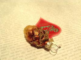 Old German Christmas Glass Tree Gold Tone Brown Pine Cone Handmade Ornament image 3