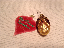 Old German Christmas Glass Tree Gold Tone Brown Pine Cone Handmade Ornament image 2