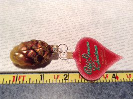 Old German Christmas Glass Tree Gold Tone Brown Pine Cone Handmade Ornament image 6