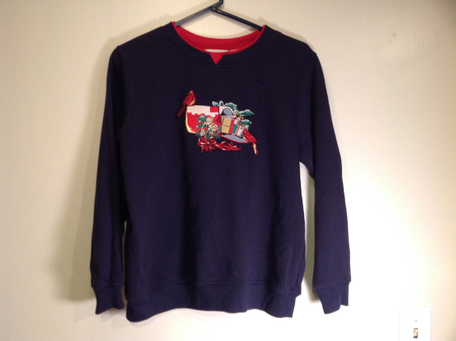 Size Small Shenanigans Long Sleeve Dark Blue Sweatshirt  with Christmas Mailbox