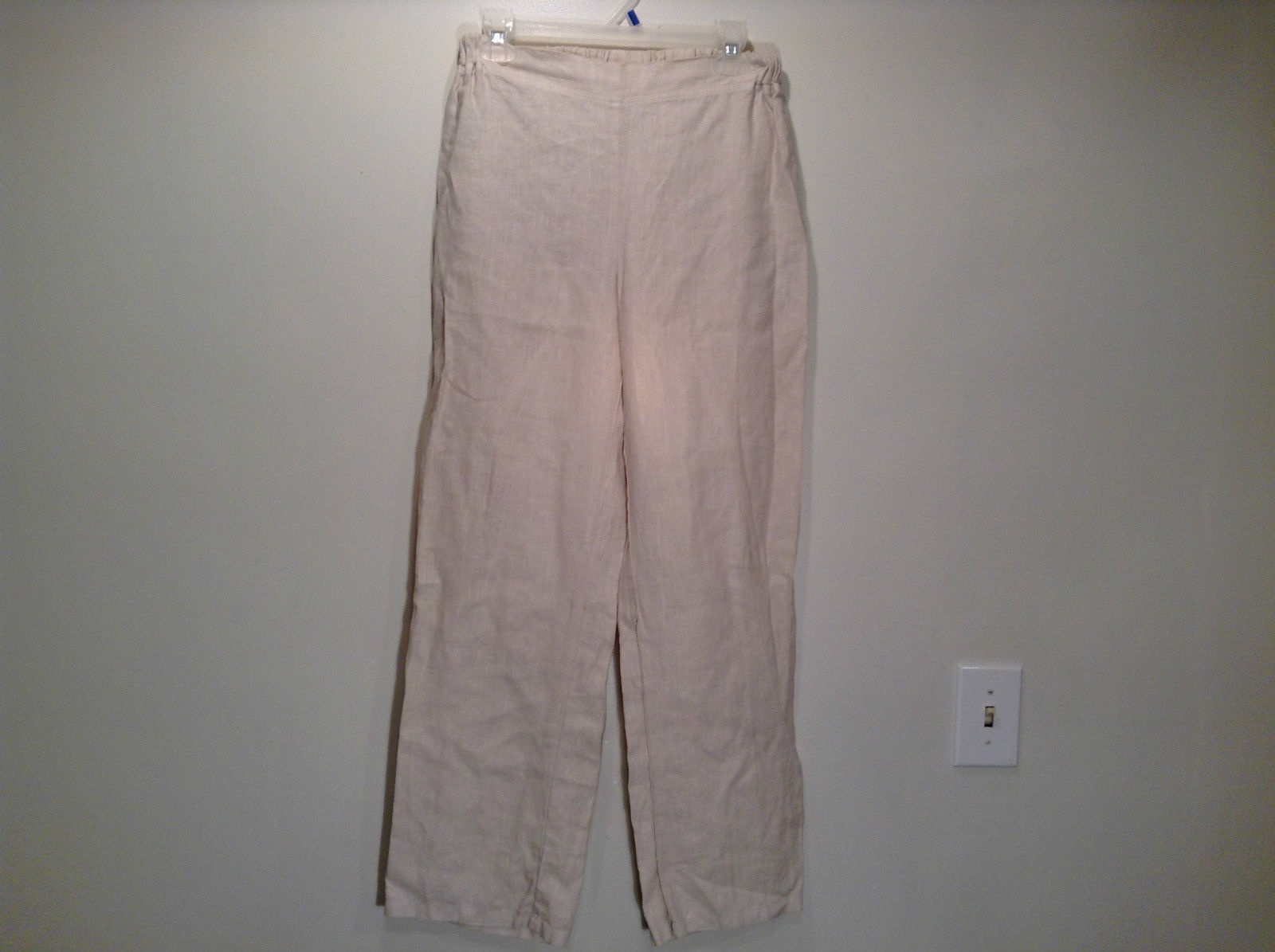 Size Small Icantoo Natural Colored 100 Percent Linen Pants Stretchy Waist