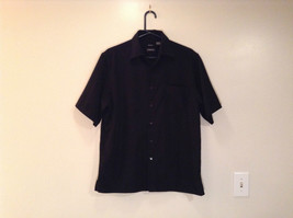 Size M Sueded George Short Sleeve Black Casual Shirt 100 Percent Polyester - $19.79