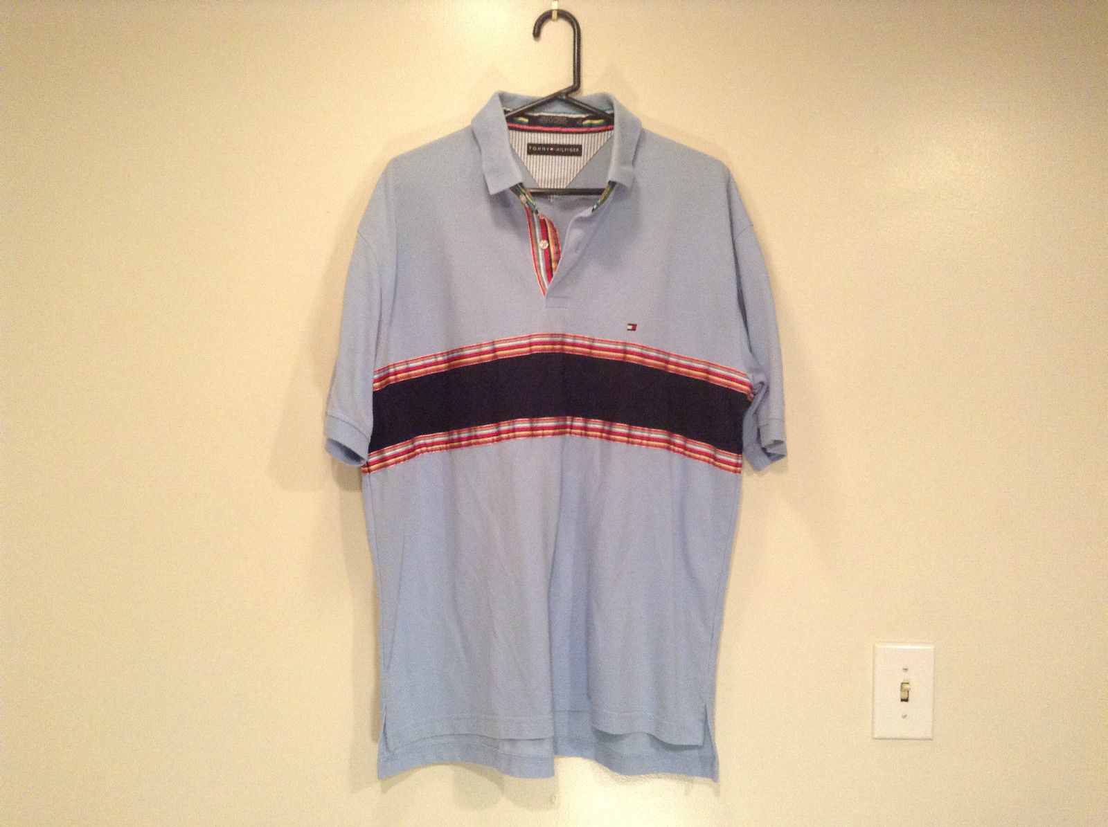 Size XL Blue with Wide Stripes on Front Tommy Hilfiger Polo Shirt Short Sleeves