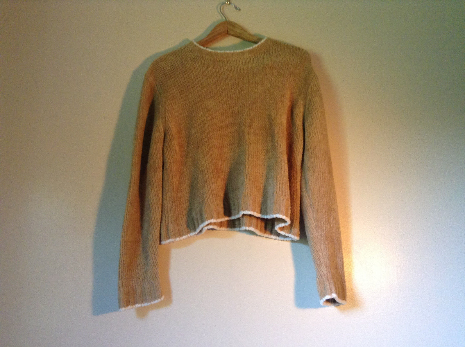 Size XL Light Brown Trimmed with White Rave Long Sleeve Sweater