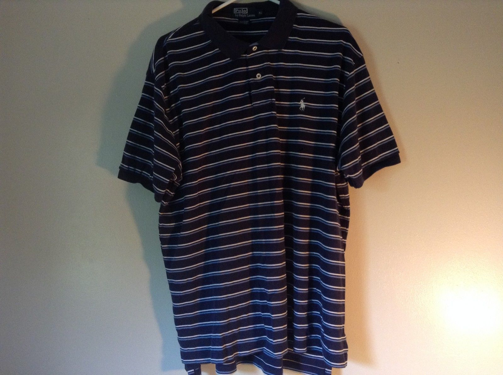 Size XL Navy Blue and White Striped Polo by Ralph Lauren Short Sleeve Polo Shirt