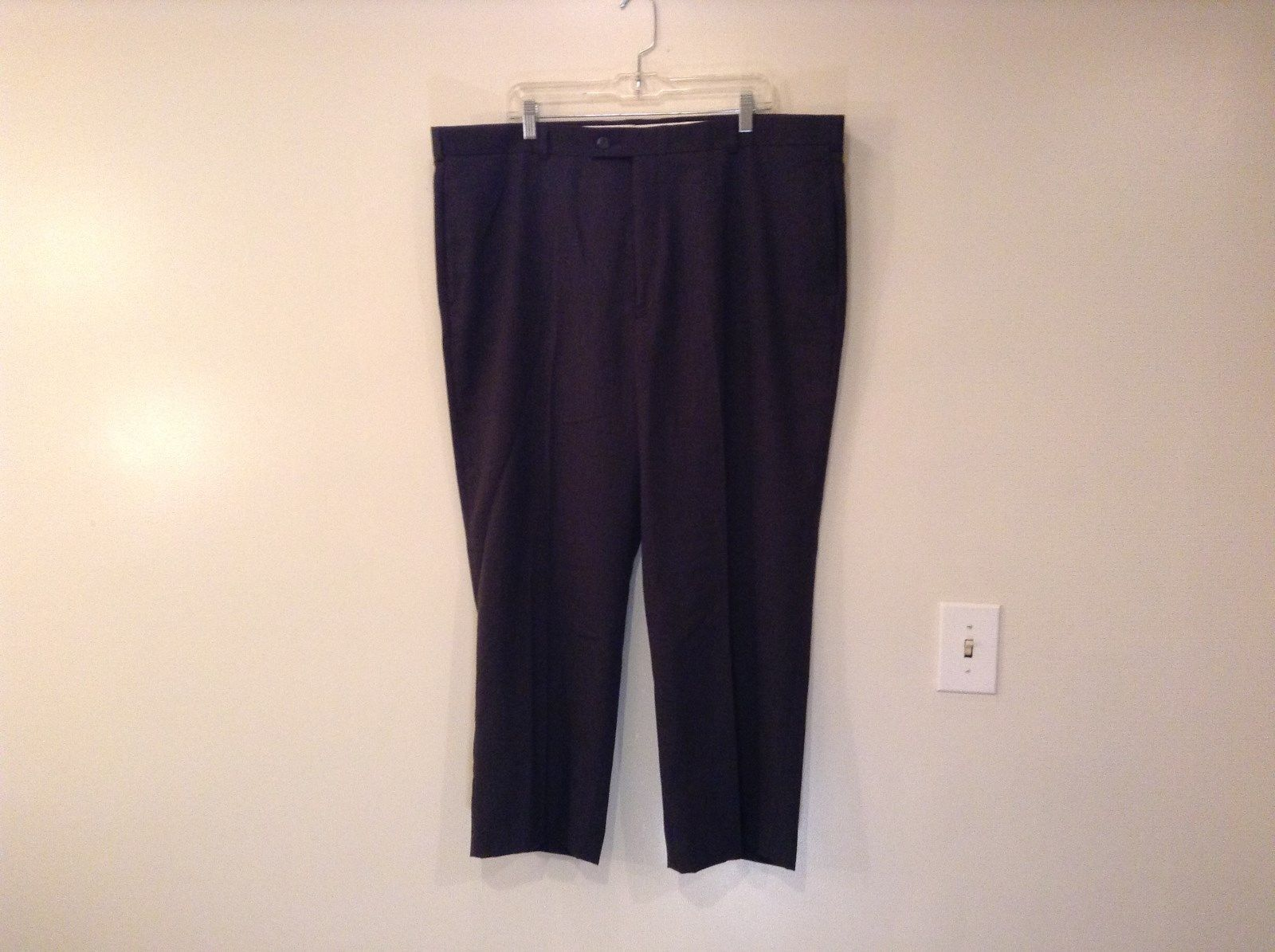 Slates Flat Front Dark Gray Unlined Dress Pants Size W44 by L30 Good Condition