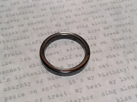 Skinny Flat Hematite Natural Stone Ring Sizes 6.5 to 9 Shiny Metallic Look
