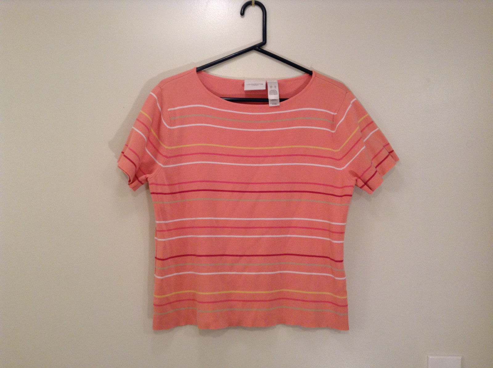 Size XL Liz Claiborne Sport Short Sleeve Salmon Pink with Stripes Scoop Neck