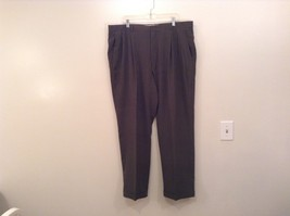 Slates Basic Brown Gray Pleated Front Polyester Dress Pants Size 42W 32 L