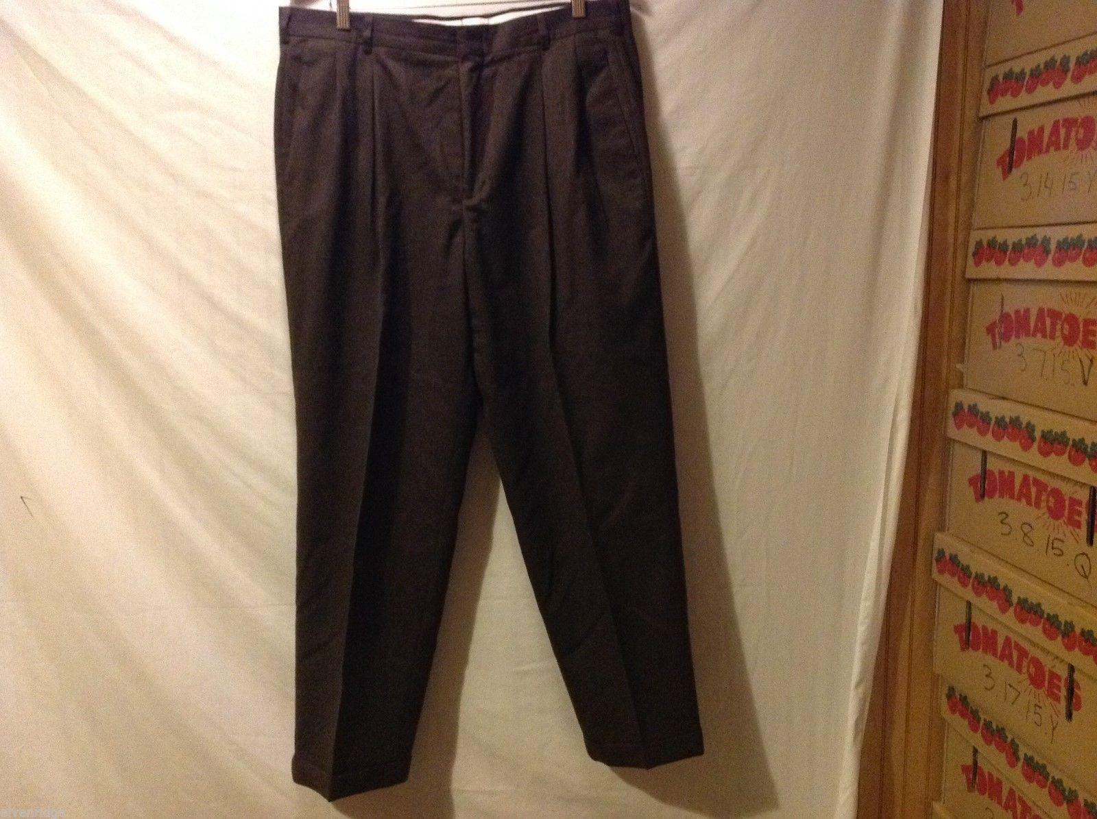 Slates Mens Dark Brown Dress Pants, Size W35 L30