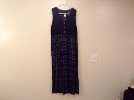 Sleeveless Size 10 Black at Top Teal Plaid Bottom Dress Positive Attitude