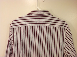 Old Navy Maroon Gray White Striped 100% cotton Shirt, Size M image 2
