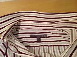 Old Navy Maroon Gray White Striped 100% cotton Shirt, Size M image 6