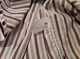 Old Navy Maroon Gray White Striped 100% cotton Shirt, Size M image 5