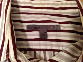 Old Navy Maroon Gray White Striped 100% cotton Shirt, Size M image 4