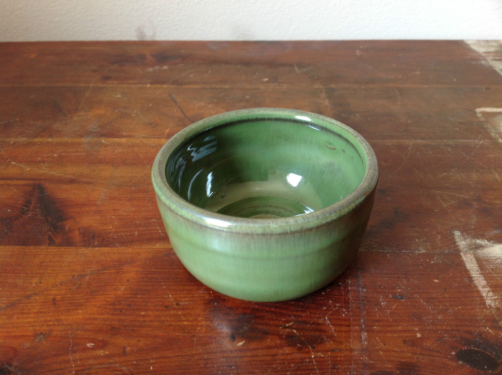 Small Ceramic Hand Crafted Artisan Bowl Green Glazed