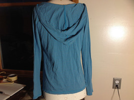 Old Navy Do A Little Yoga Blue Striped Long Sleeve Hooded Shirt Size Large image 5