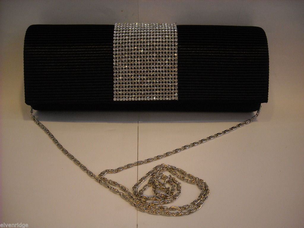 Small Black Purse with Rhinestones and Optional Silver Chain Shoulder Strap
