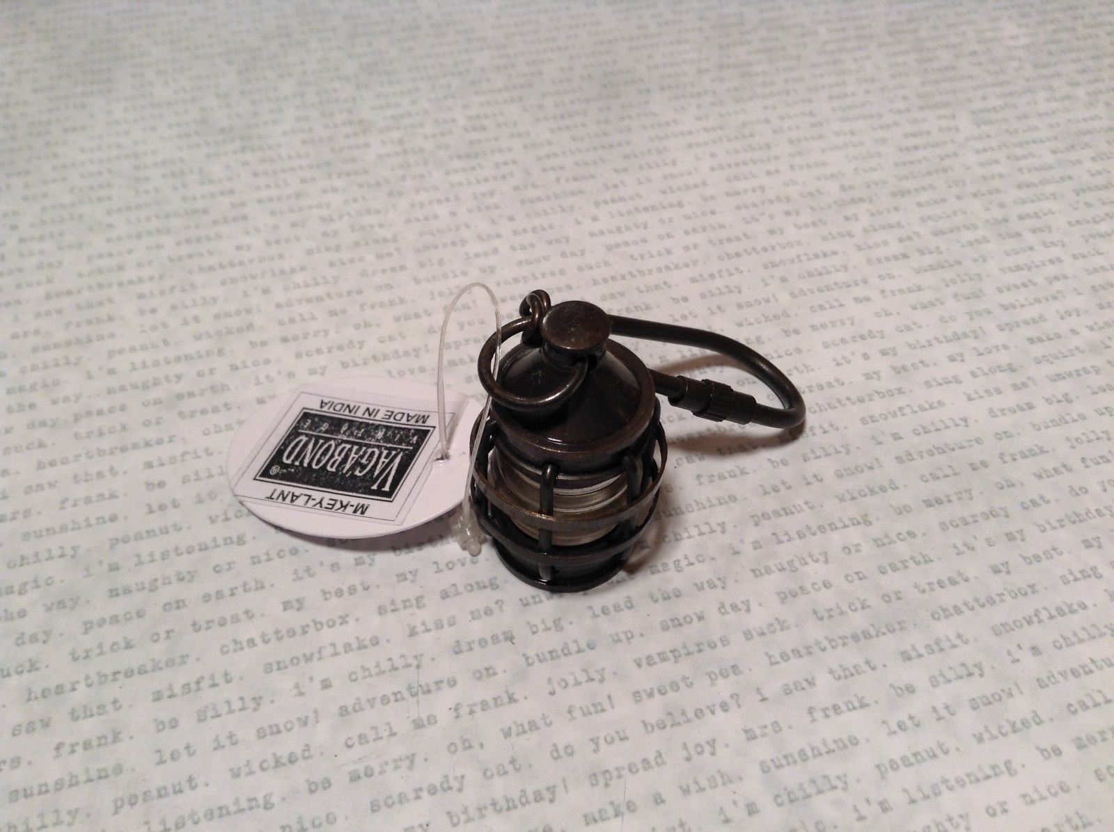Small Lantern with Glass Globe Vagabond Keychain Small Carabineer Attached