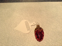 Small Red Gold Pine Cone German Christmas Glass Tree Ornament Handmade