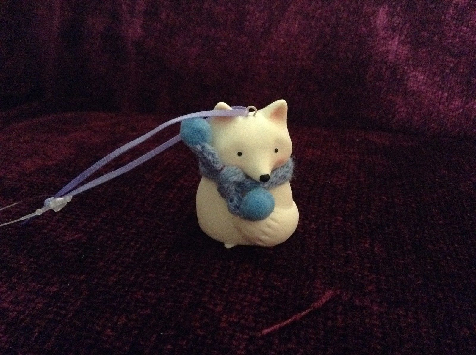 Small Porcelain Fox Figurine with Knitted Scarf Available in Different Colors