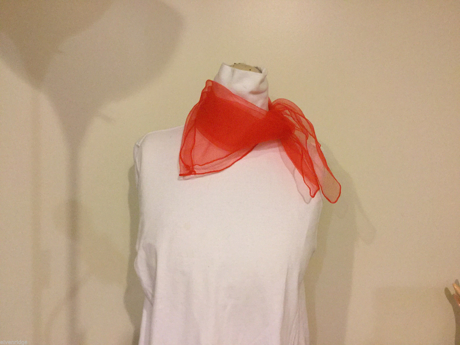Small Square Red Sheer Fabric Scarf 100% nylon